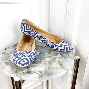 Schutz Blue Tribal Embroidered Flat